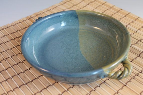 Blue Green Brie Baker Handmade Pottery Baking by NewDayPottery