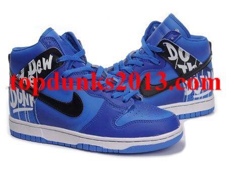 Custom Blue Black Do The Dew Nike Dunk Men High Top Free Shipping