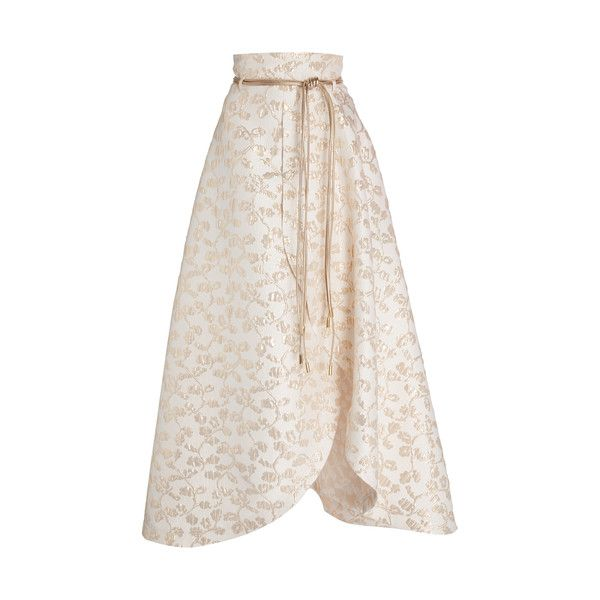 Pascal Millet Brocade Petal Skirt With Belt ($1,040) ❤ liked on Polyvore featuring skirts, gold, a-line skirt, high-waist skirt, floral skirts, white high waisted skirt and high waisted floral skirt