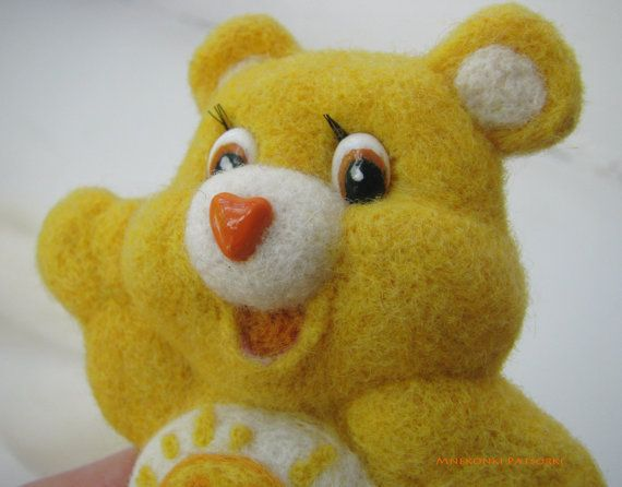Care Bear Funshine Handmade Felt Brooch Made to Order Needle