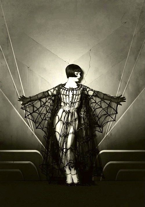 Omg Breathtaking!!!!   silent film goddess in gothic sensual pose vintage photo still watch her Louise Brooks