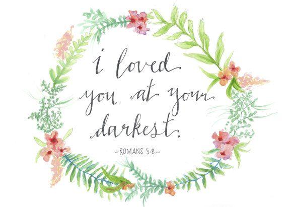 Romans 5:8 Scripture Bible Verse Floral Wreath Laurel Encouragement Watercolour Painting Instant Download Printable on Etsy, $4.81