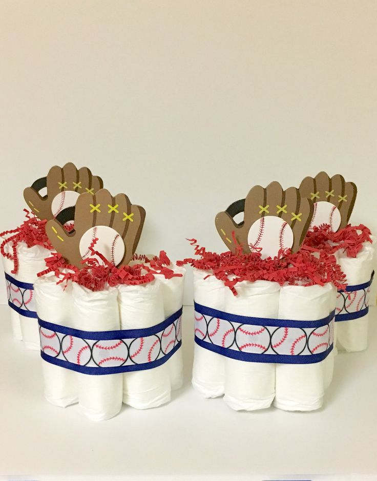 Set of 4 Baseball Theme Mini Diaper Cakes for a Sport Themed Baby Shower. Baby Shower Gift or Centerpiece. Decorations. Welcome Gift. by PAMPartyHomeDesignCo on Etsy