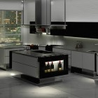 Modern Minimalist Kitchen Design with Curve Layout, Clean Finish and Wine Racks Mount