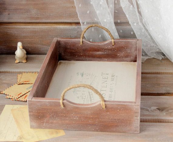 Rustic Wood Tray, Bed Tray, Wood Serving Tray, Distressed Wooden Tray, Industrial Tray, Cottage Shabby Chic Tray, Tray With Handles,  Coffee Table Tray, Gift for her   ....... #etsy
