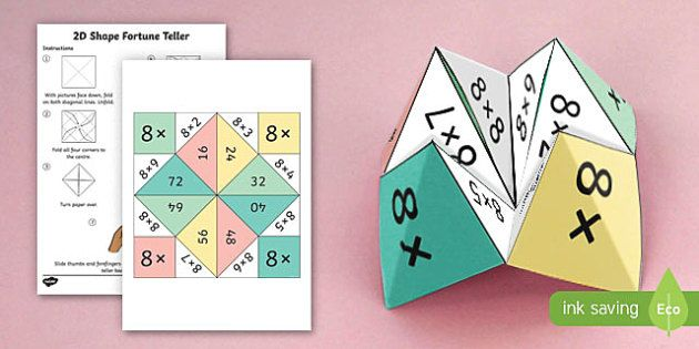 8 Times Table Fortune Teller - 8 times table, times table, fortune teller, activity, craft, fold, times tables, maths