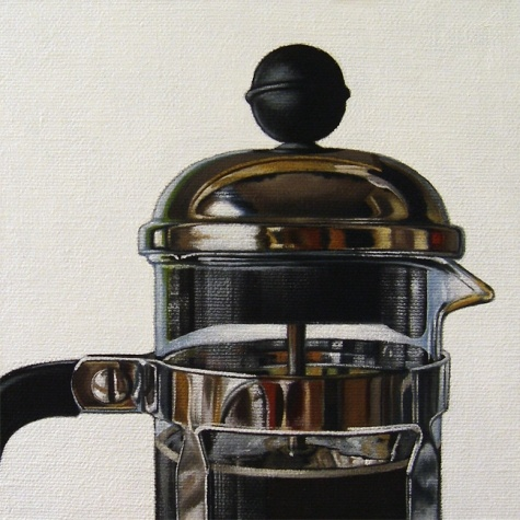 French Press Study II, painting by artist Jelaine Faunce