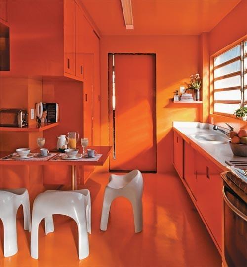 Bright Orange Kitchen Decor Gives A Warm Glow
