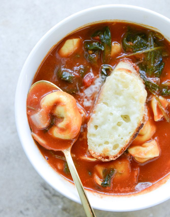 white bean tortellini soup with broiled havarti toasts I howsweeteats.com