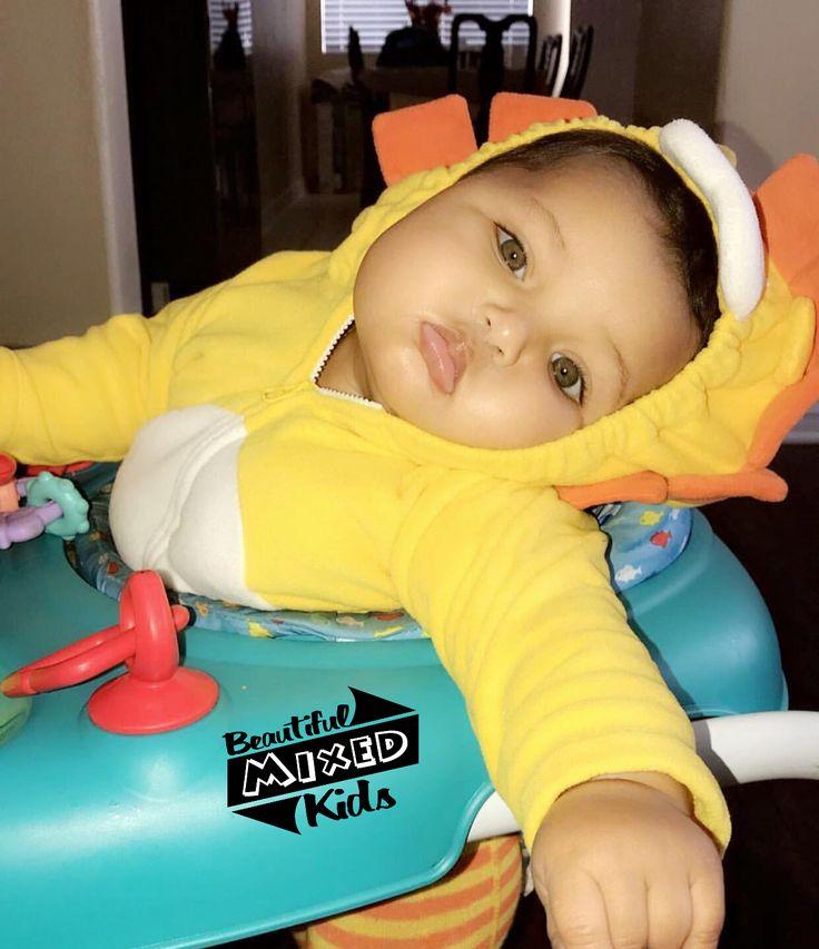 Kaideyn Neveah (Lion) - 7 Months • African American, Caucasian, Mexican & Ecuadorian ☠️ FOLLOW @BEAUTIFULMIXEDKIDS http://instagram.com/beautifulmixedkids