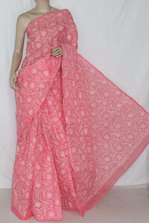 Dark Peach Hand Embroidered Allover Tepchi Work Lucknowi Chikankari Saree (With Blouse - Cotton) 14370