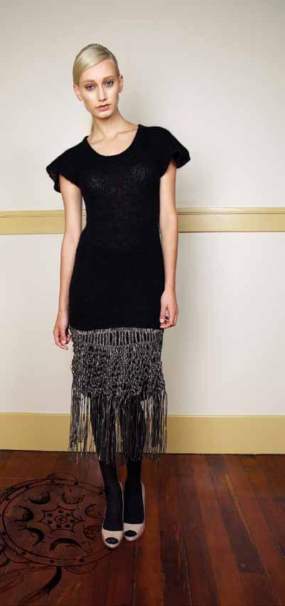 Dinah Dress from 70% Kid Mohair 30% Nylon with macrame hem