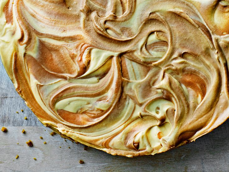 This chilled, no-bake cheesecake has a beautifully soft texture. You can use toffee sauce or dulche de leche to create the marbled effect. From
