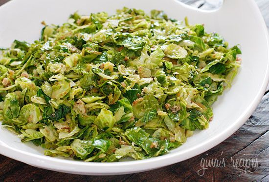 Sauteed brussels sprouts are delicious when shredded and sautéed with pancetta, garlic and oil.