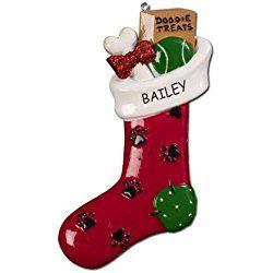 Personalized Treats Stocking Dog Christmas Ornament