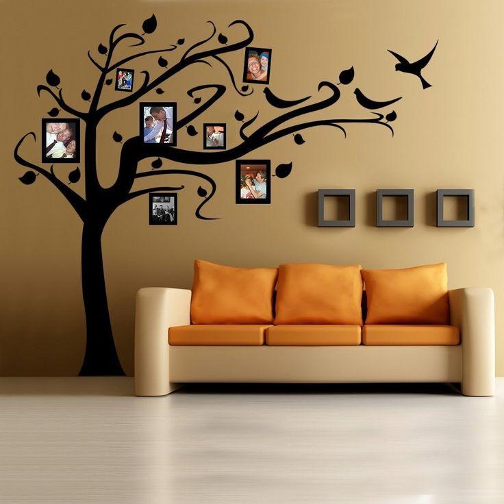 Ideas para decorar la pared de tu casa: Árbol de vinilo con fotografías familiares