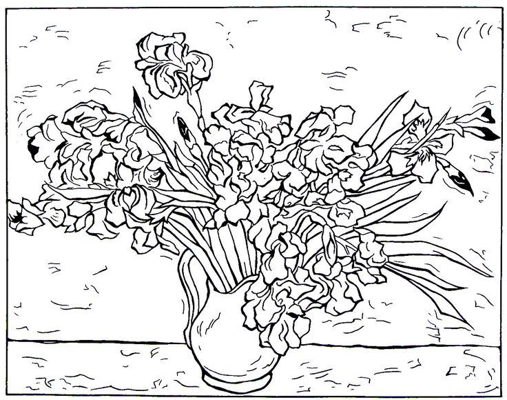 Still Life Vase With Irises Impressionist Painting By Vincent Van Gogh Printable Coloring Book Page