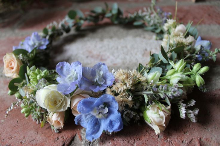 The Danni Crown // Light peach tea roses, delphinium and larkspur flower crown www.thecrowncollective.co