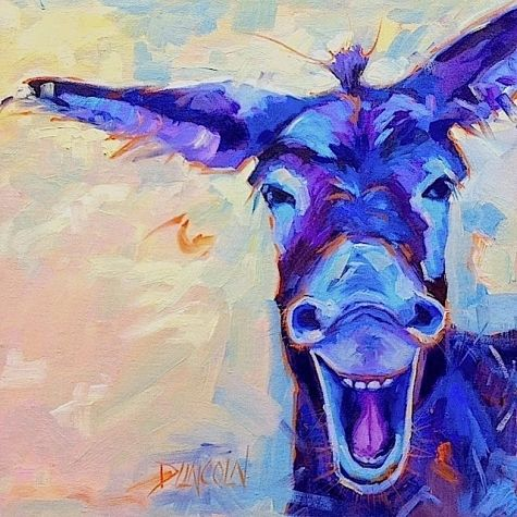 Joke's On You - laughing donkey painting by Debbie Grayson Lincoln
