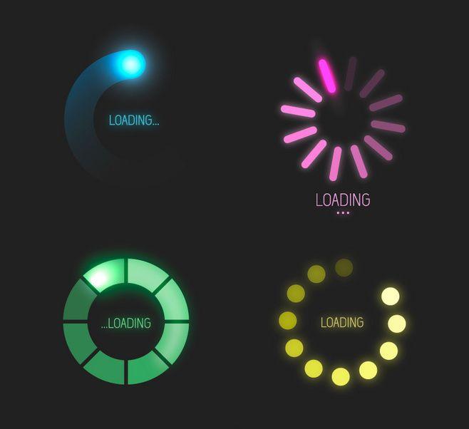 4款环形进度条矢量素材