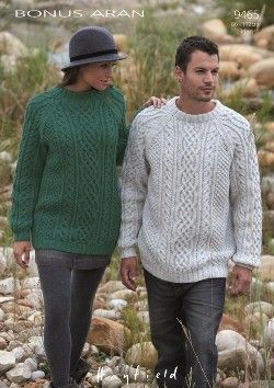 Ladies & Mens Sweaters in Sirdar Hayfield Bonus Aran, Black Sheep Wools , Black Sheep Wools
