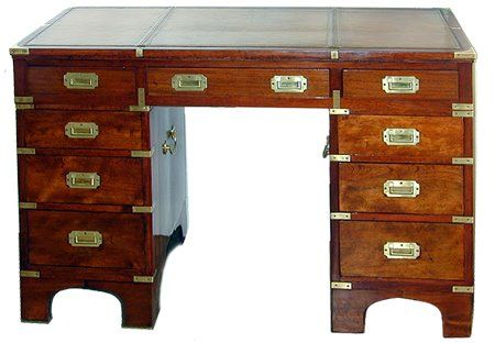 British Colonial Campaign Furniture Campaign Desk From