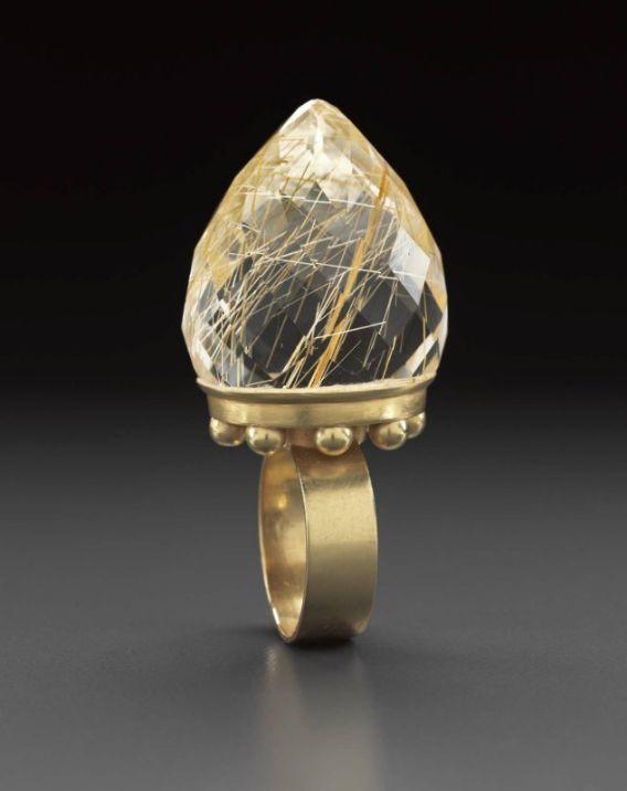 Ring | Daniel Kruger.  18 kt gold, rutilated quartz