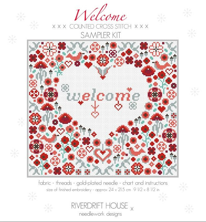 CROSS STITCH KIT Welcome Poppy Heart Sampler by Riverdrift House by RiverdriftNeedlework on Etsy https://www.etsy.com/uk/listing/271188577/cross-stitch-kit-welcome-poppy-heart