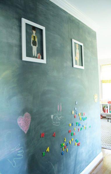 Krijtbord Achterwand Keuken : Magnetic Chalkboard Paint Wall