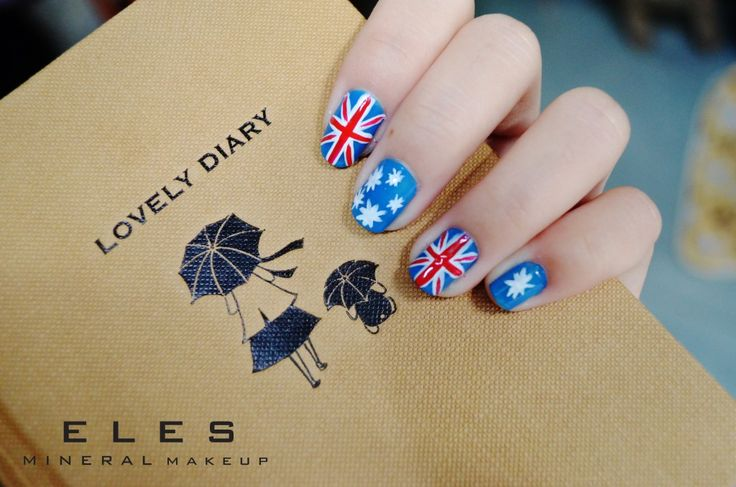 ELES Cosmetics Mineral Makeup Australia Nail Polish NailArt Flag  Happy Australia Day! Make a stunning comeback tomorrow at the workplace with a gorgeous Aussie flag nail art and Turquoise blue eye shadow. ♥ #nailart #nailartdesigns #Australia #australiaday2014 #ELES #cosmetics #mineralmakeup #makeup   http://www.elescosmetics.com/blog/blue-red-and-white-the-colours-of-freedom-and-love/