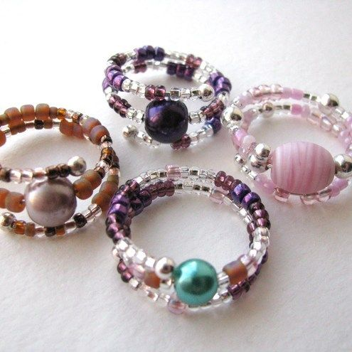 Beaded Memory Wire Rings. No instructions