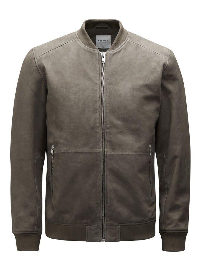 Bomber jacket in genuine suede, inner pockets, dusky green PREMIUM by JACK & JONES
