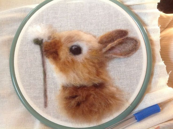 Beautiful needle felted bunny portrait by Chicktin Creations http://www.etsy.com/shop/chicktincreations