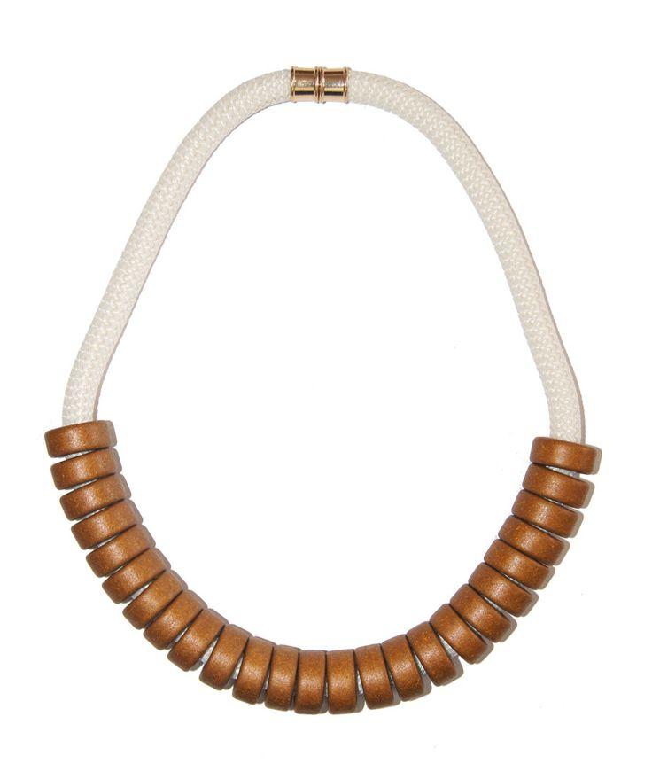 Ceramic Bead   Rope Necklace - Bronze - Indigos Market