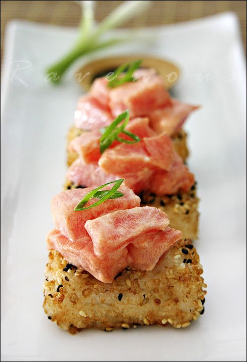 Spicy tuna. This recipe looks so yummy and I could easily adapt it to cook the salmon :x Not a big sushi fan.