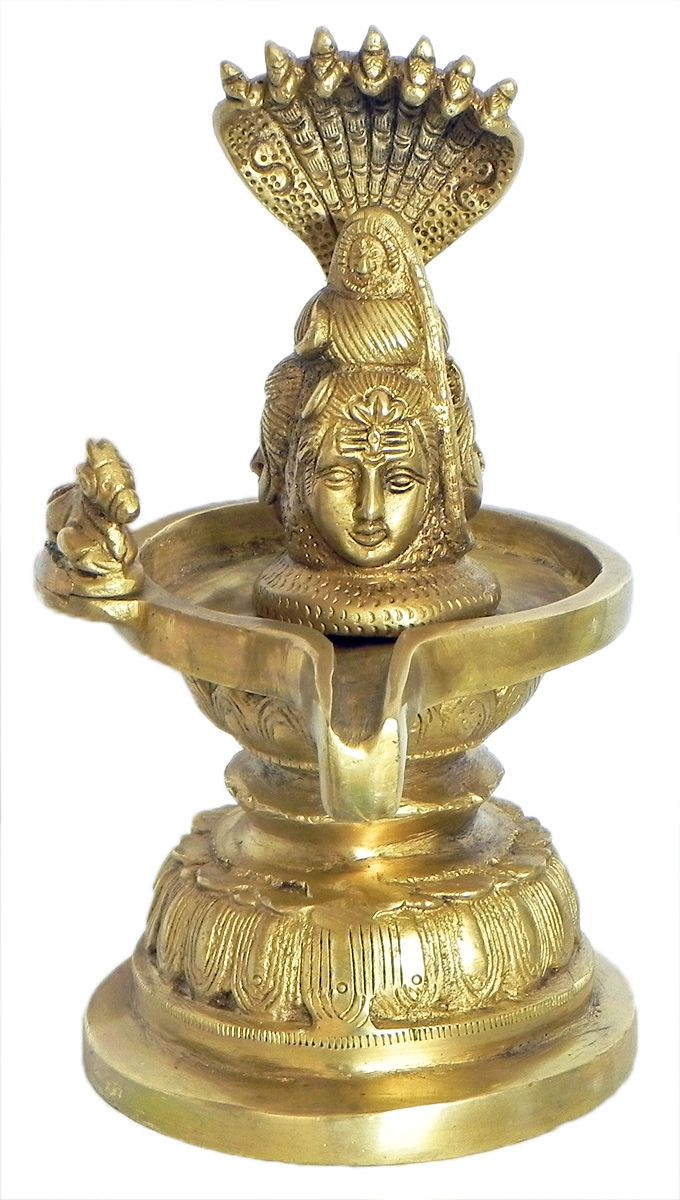 Three Faced Shiva Linga with Nandi Protected by Sheshnag (Brass)