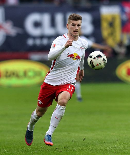 Timo Werner of Leipzig runs with the ball during the Bundesliga match between RB Leipzig and 1. FC Koeln at Red Bull Arena on February 25, 2017 in Leipzig, Germany.