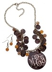 Brown Beaded Shell Bundle Eng Bronze Necklace Set  SALE price $16.95