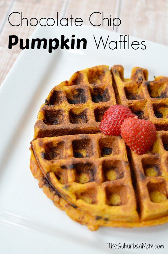 I love breakfast foods, especially sweet breakfast foods. And one of my favorite breakfast treats is homemade waffles. We have one of those really cool flip waffle makers, which makes making waffles even more fun. Normally we make plain waffles (and douse them in syrup or whip cream), but this weekend we decided to spice things up.