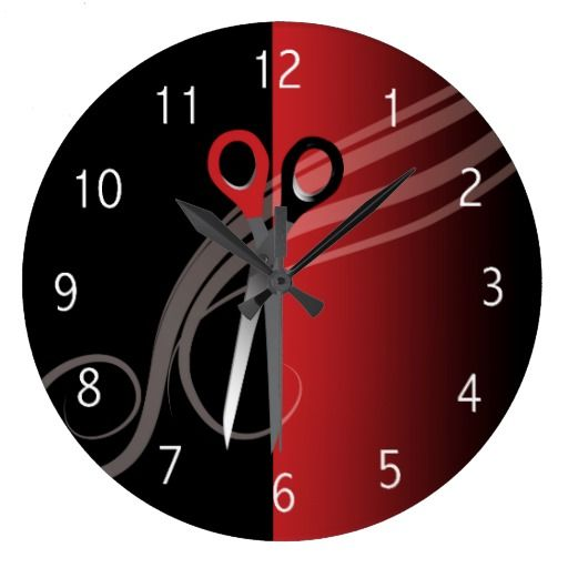 Red & black hair salon clock