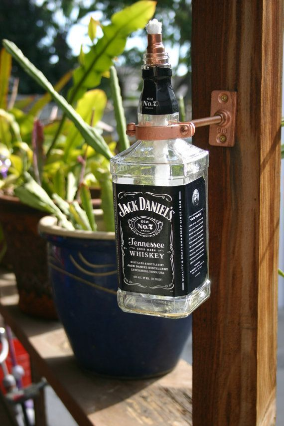 Jack Daniels Tennessee Whiskey Tiki Torch / Oil Lamp. Great use for those empty bottles!