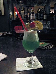 """Ingredients for a Blue Hawaii cocktail are light rum, vodka, curacao, pineapple juice and sweet and sour.  In your gift basket you might want to choose which """"Hawaiian"""" drink you choose.  This is more of a touristy drink."""