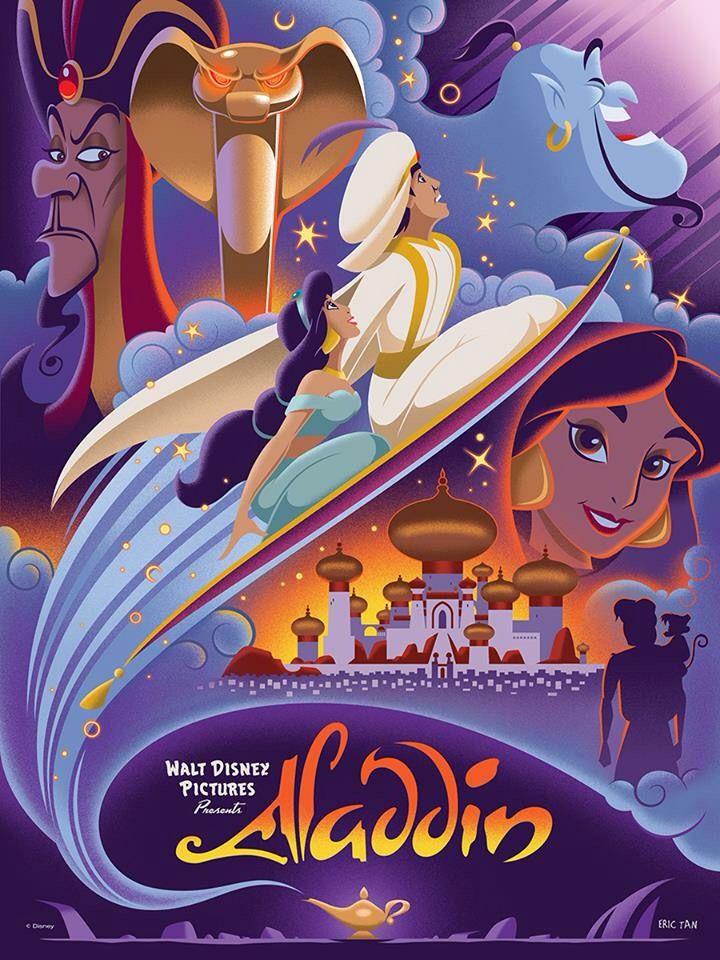 Aladdin (1992). Aladdin, Princess Jasmine, The Sultan, Genie and Jafar.