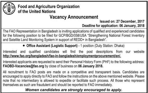 Food and Agriculture Organization FAO Job Circular    Food an Agriculture Organization (FAO) published a New job vacancy Notice-2018 at h...