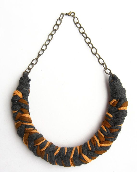 Colorful Cotton Necklace Braided Necklace Camel Necklace by Tayny
