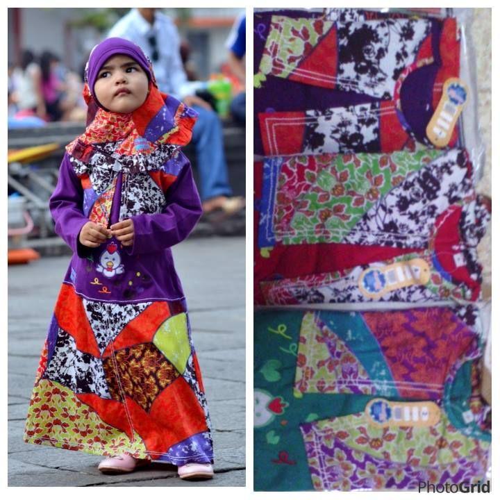Busana muslim anak terusan, bahan cotton 100%, nyaman di pakae, di buka peluang distributor, hub. kami di mobile 0812-3199-9953