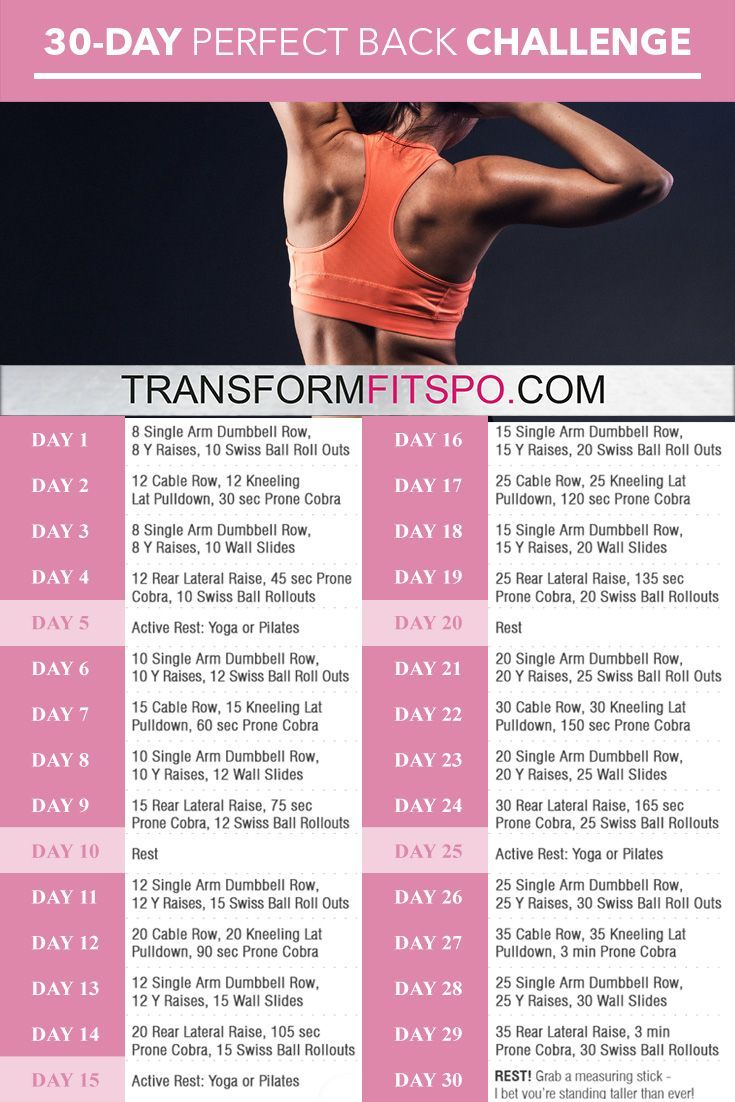 Perfect Back: 30-Day Challenge | Work outs | Workout ...