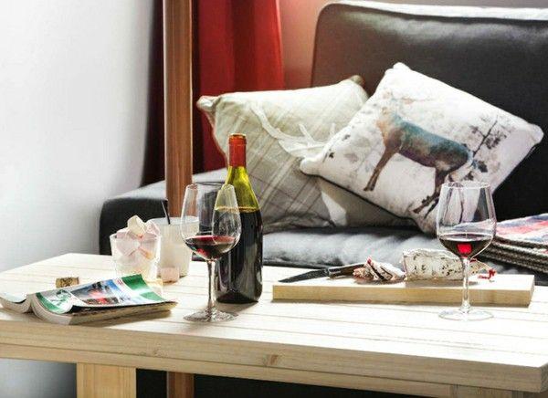 Ski Hotel luxury dining table wine salami
