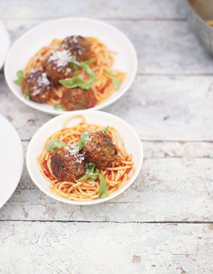 Meatballs are fantastic! They're perfect like this, with a one-minute homemade tomato sauce and spaghetti, but you could also try polenta or simple chunks of fresh crust bread. I like to make meatballs with a mixture of beef and pork, as I think it gives a really wonderful flavour and texture.