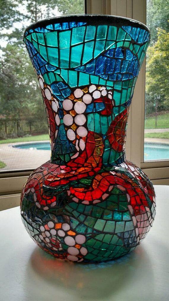 Florero del mosaico de pulpo por MidnightDreamsArt en Etsy